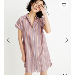NEW • Madewell • Central Shirtdress Rainbow Stripe